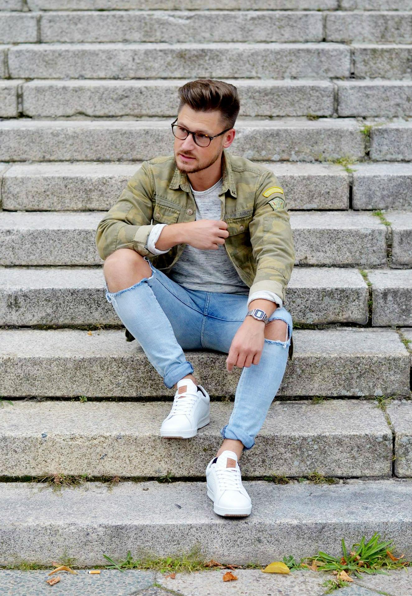 Modeblog-Berlin-Männer-Blog-Fashion-Camouflage-Jacke-Casio-Uhr-silber-Look
