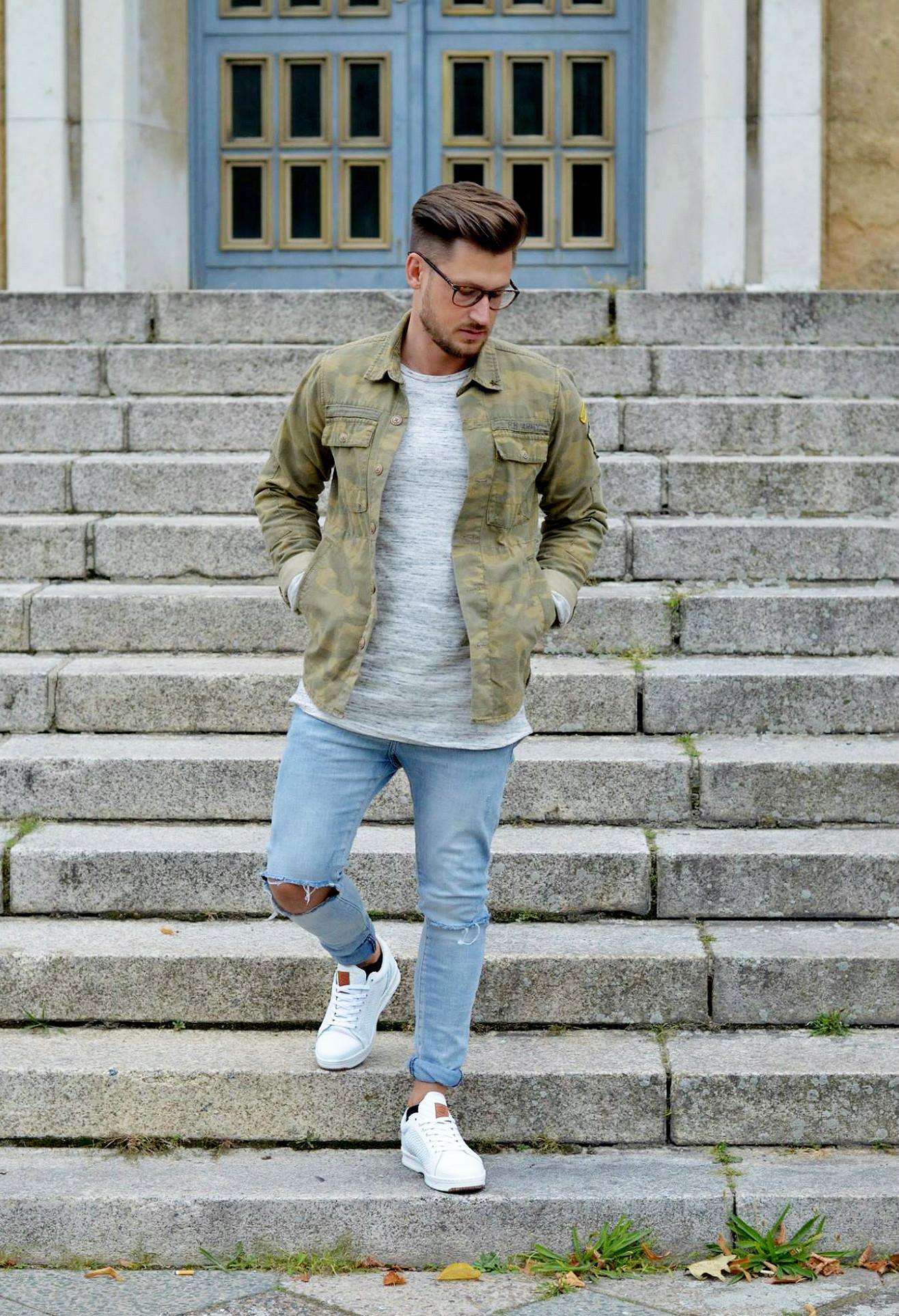 Modeblog-Berlin-Männer-Blog-Fashion-Camouflage-Jacke-Skinny-Jeans-Sneaker-grey-Sweatshirt