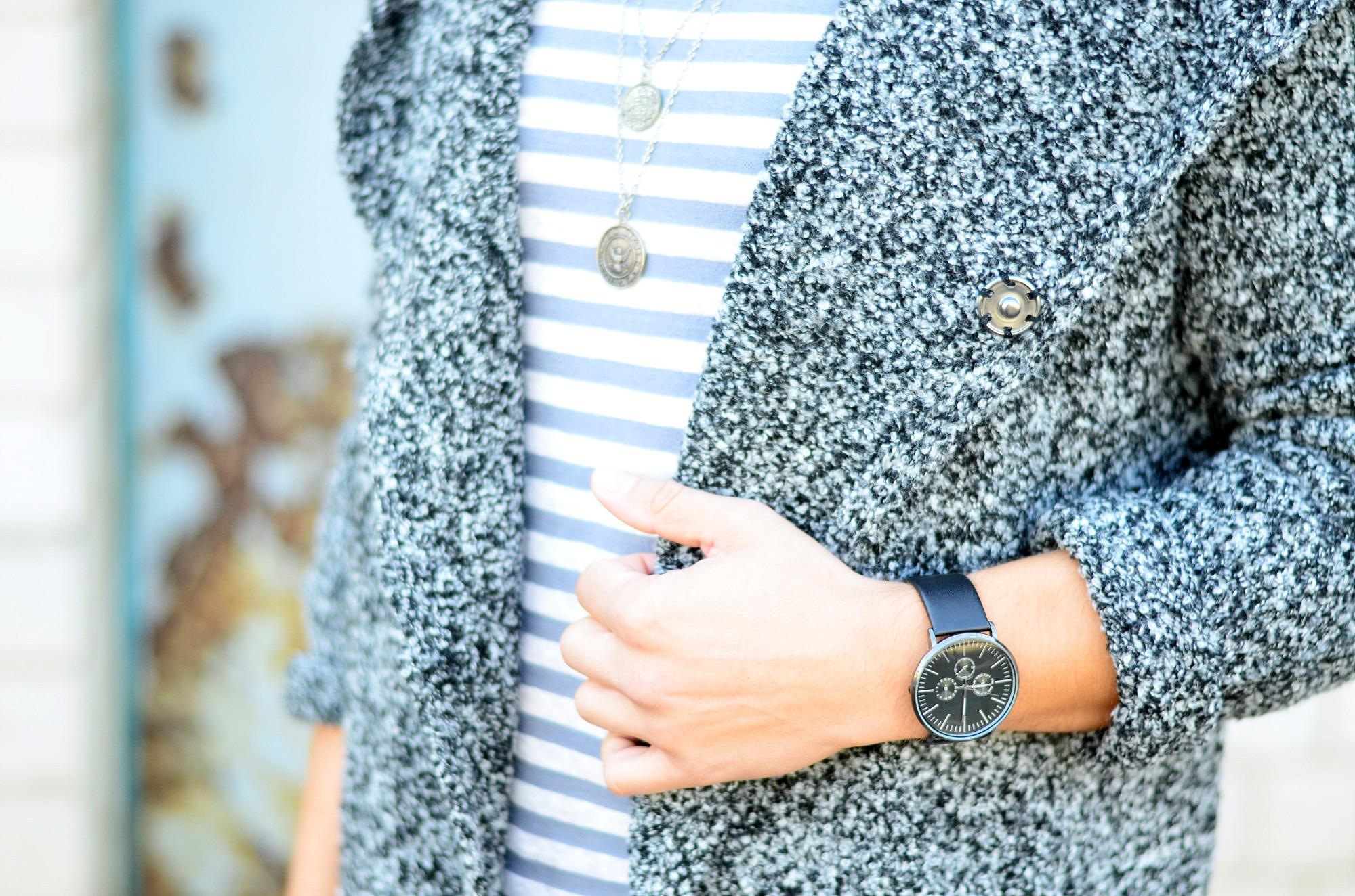 TommeezJerry-Uhr-schwarz-Asos-Cardigan-Streifenshirt-Kette