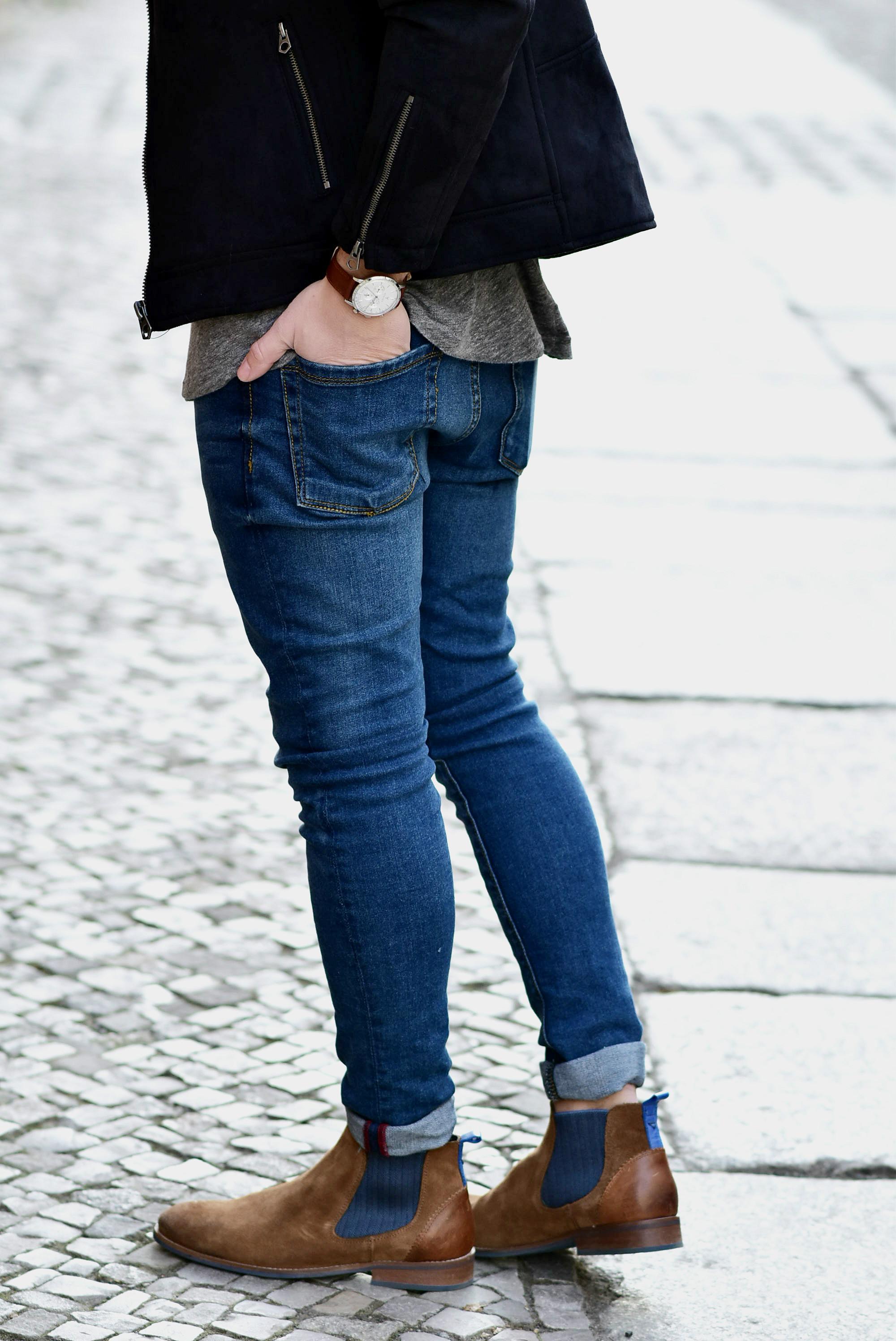 Tommeezjerry-Styleblog-Männerblog-Modeblog-Berlin-Outfit-Streetlook-Skinny-Jeans-Wildederbikerjacke-Bikerjacke-Chlesea-Boots-Renardwatch