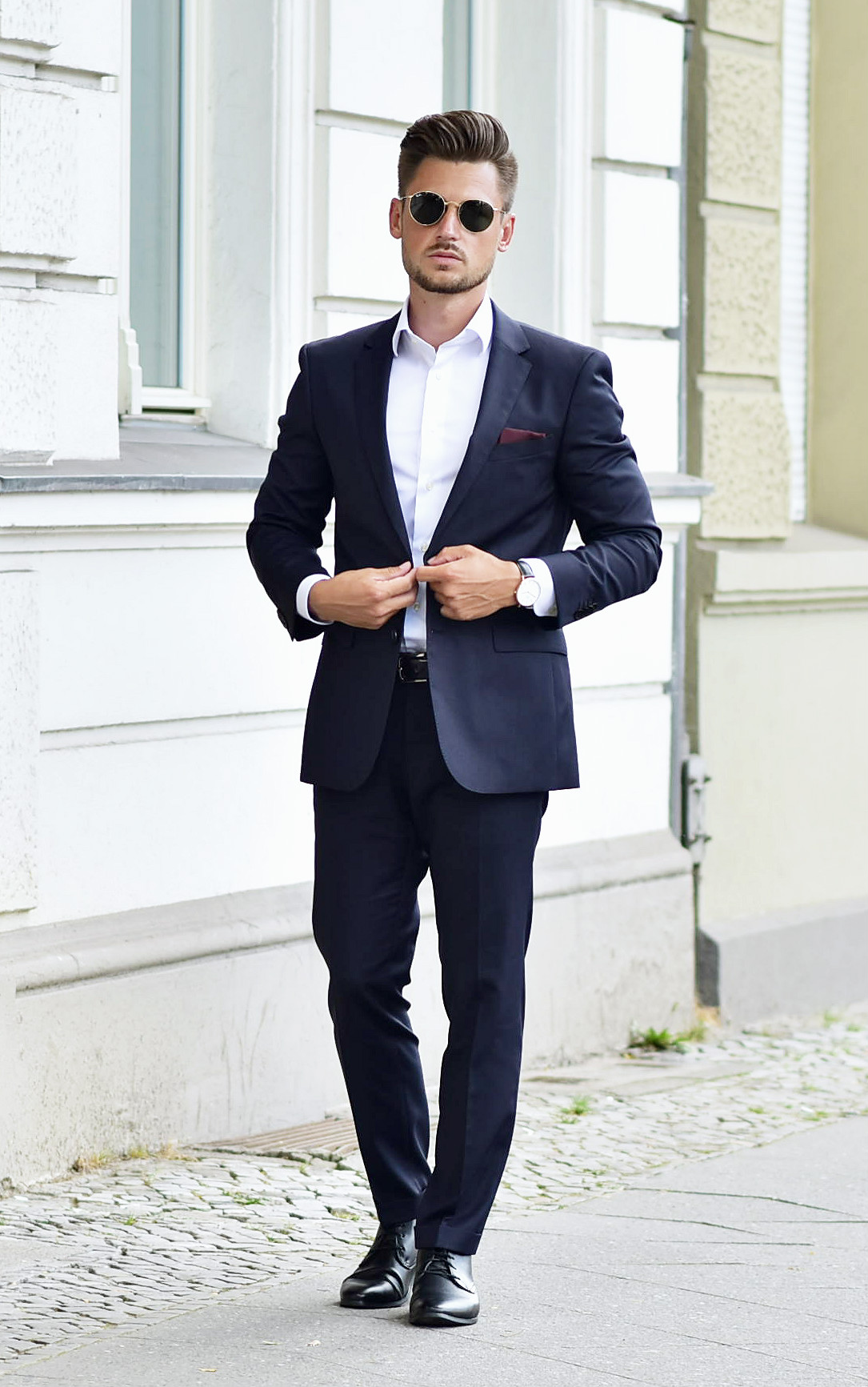 outfit suit up with hugo boss at fashion week berlin. Black Bedroom Furniture Sets. Home Design Ideas