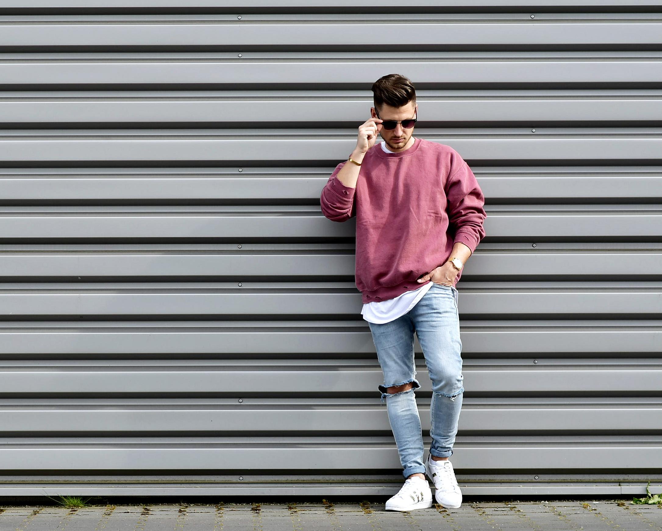 Tommeezjerry-Styleblog-Männerblog-Männer-Modeblog-Berlin-Berlinblog-Outfit-Streetlook-Vintage-Retro-Oversized-Adidas-Superstar-Skinny-Jeans-Rosa-Used-Rotrosa